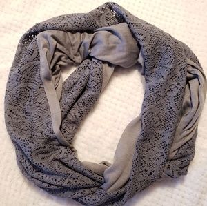 Gray Jersey and Lace Infinity Scarf